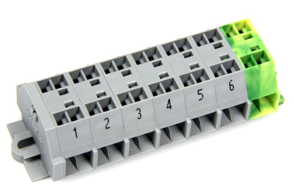 WAGO 260-001 Klemmleiste 6 Leiter 10 A 400 V 6x 1,5 mm² PE ...