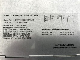 "Siemens Simatic PC677B Industrie Panel PC 15"" - 6AV7873-0BD30-1AC0 - 10/10/I5/07 – Bild 4"